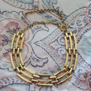 Fossil 3 Bar Rhinestone Gold Necklace
